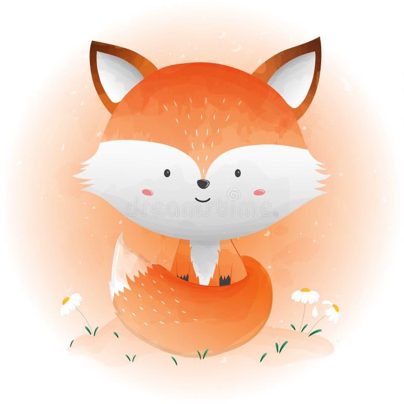 Gulligt behandla som ett barn räven vektor illustrationer