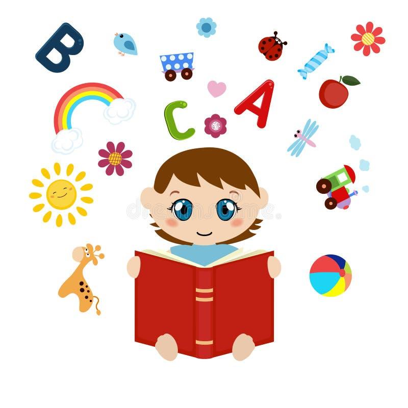 Gulligt behandla som ett barn sammanträde och läseboken royaltyfri illustrationer