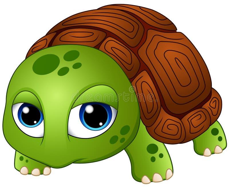 Gulligt behandla som ett barn sköldpaddatecknade filmen vektor illustrationer
