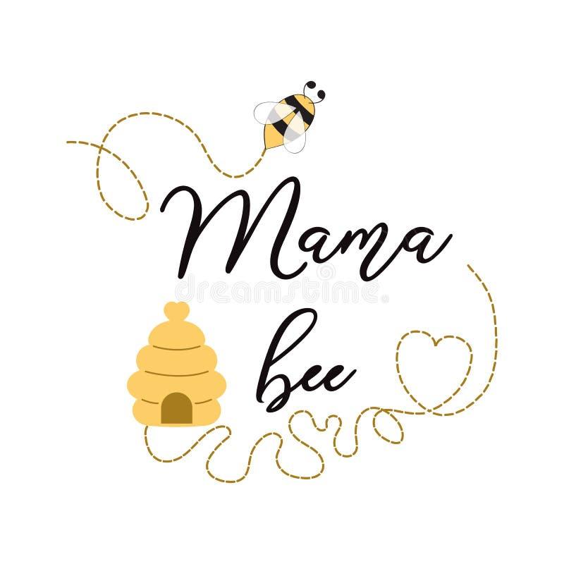 Gulligt bi för mammabiuttryck på den gulliga kortdesignen för vit bakgrund för den Mams för baby shower för moderdag födelsedagen stock illustrationer