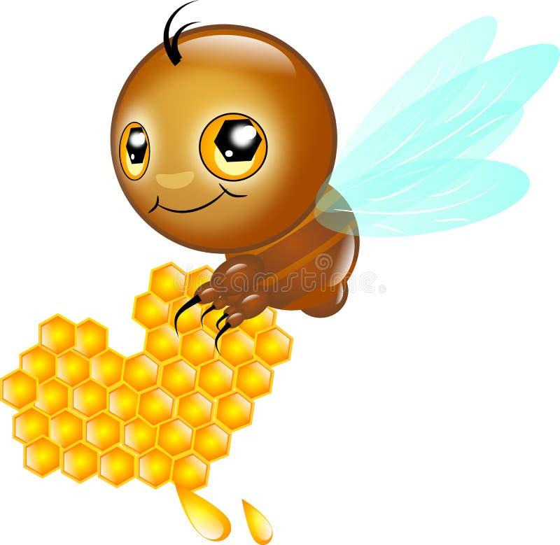 Gulligt bi med honunghjärta stock illustrationer