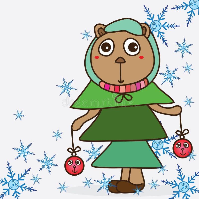Gulligt björnxmas-träd royaltyfri illustrationer