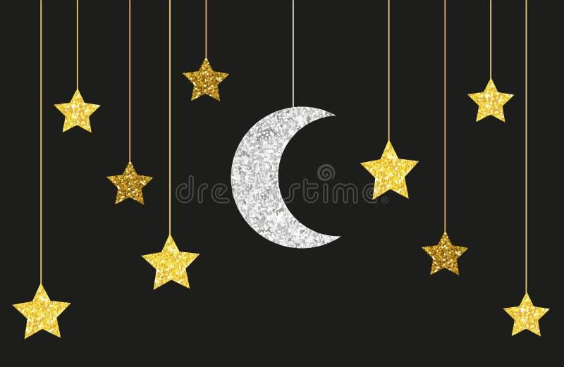 Gulligt blänka guld och silvermånen och stjärnor som hänger på rader vektor illustrationer