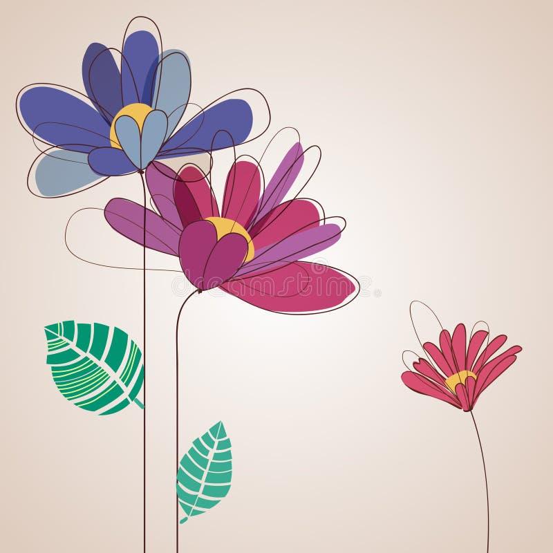 Gulligt blommakort vektor illustrationer
