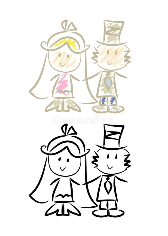 gulligt bröllop för par stock illustrationer
