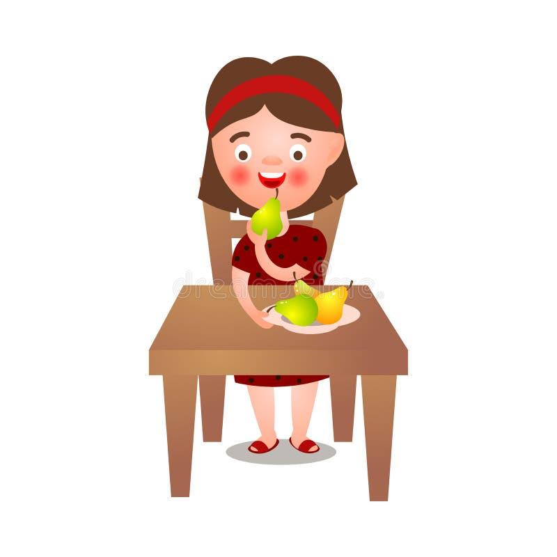 Gulligt brunettflickastag på köksbordet och att äta nya ecopäron royaltyfri illustrationer