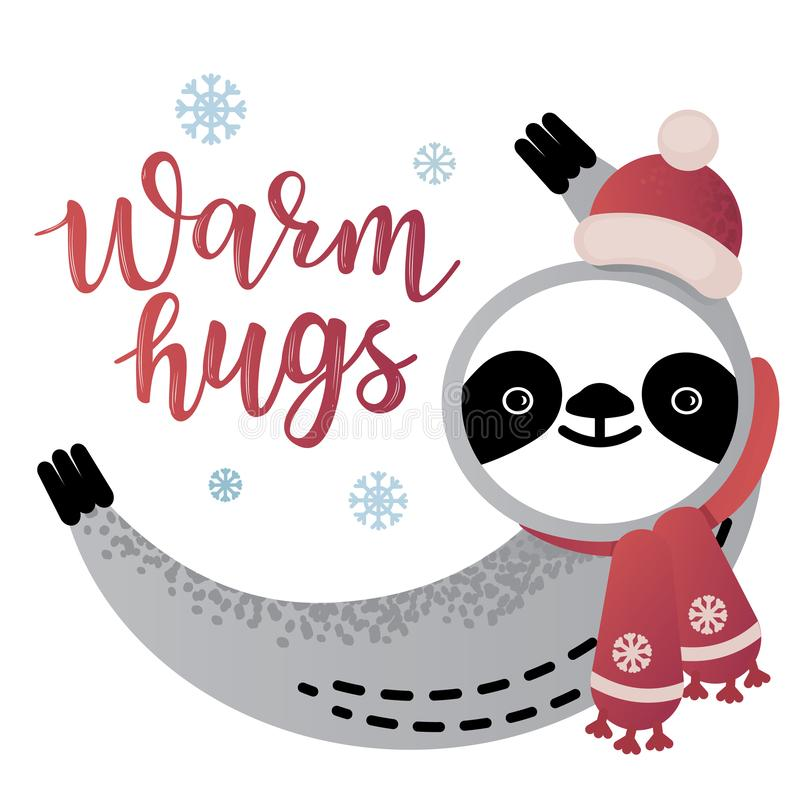 Gulligt djur för vektorsengångarebjörn med varmt märka för kramar royaltyfri illustrationer