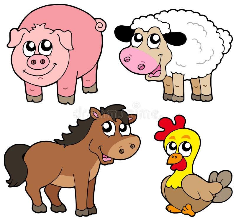 gulligt djursamlingsland royaltyfri illustrationer