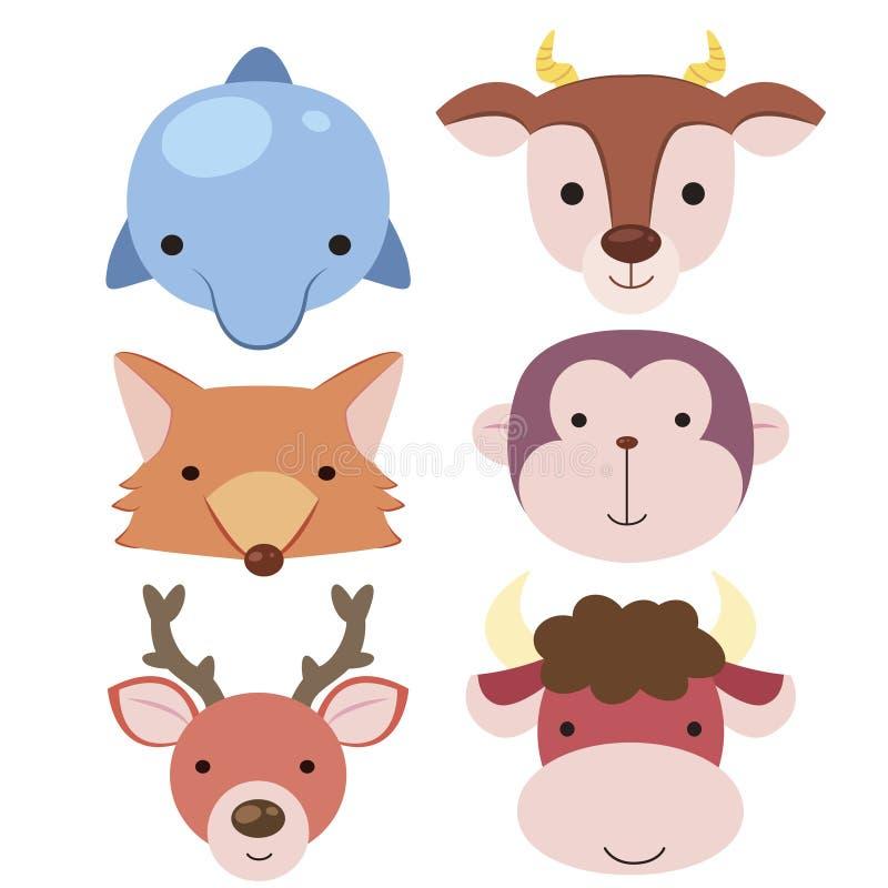 Gulligt djurt huvud icon04 royaltyfri illustrationer