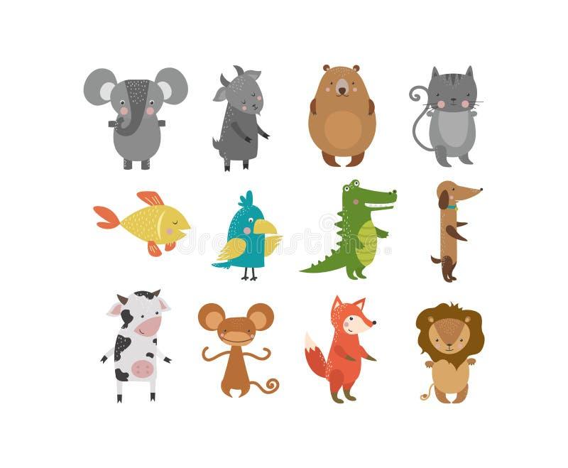 Gulligt djurvektortecken stock illustrationer