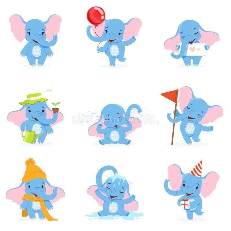 Gulligt elefanttecken - uppsättningen som är rolig behandla som ett barn elefanten i olikt poserar och lägevektorillustrationer royaltyfri illustrationer