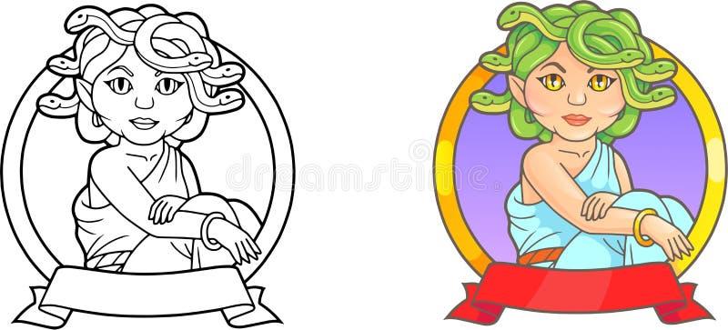 Gulligt emblem som visar en mytisk Medusa stock illustrationer
