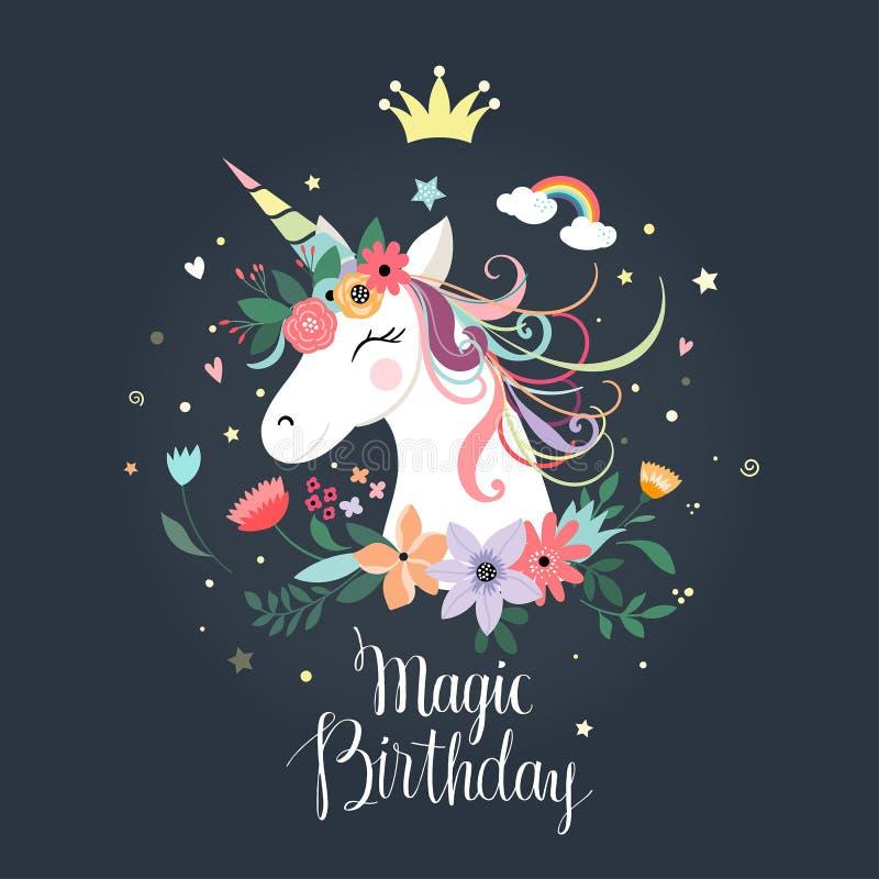 Gulligt enhörningfödelsedagkort, inbjudan, vektordesign vektor illustrationer