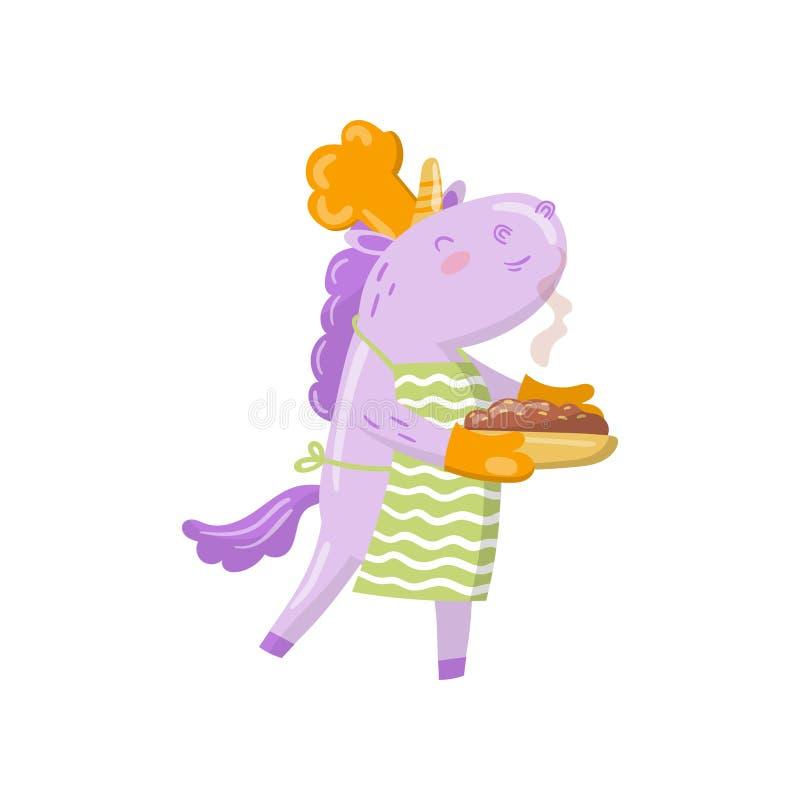 Gulligt enhörningkocktecken som rymmer den nytt bakade pajen, rolig magisk djur tecknad filmvektorillustration vektor illustrationer