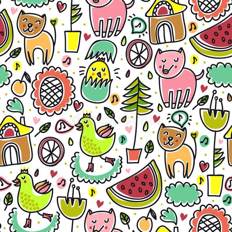 Gulligt färgrikt seamless barnsligt mönstrar vektor illustrationer