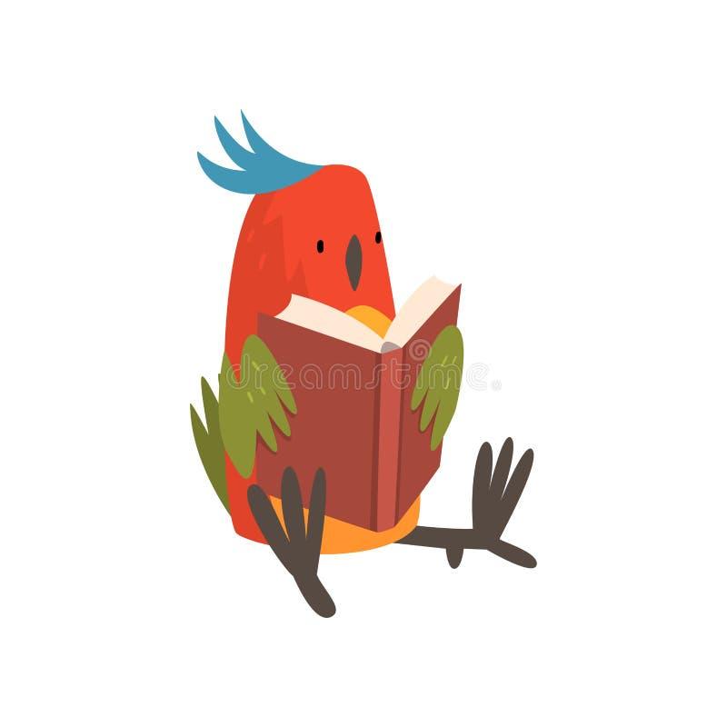 Gulligt fågelsammanträde och läsebok, roliga Birdie Cartoon Character med den ljusa färgrika fjädrar och tofsvektorn royaltyfri illustrationer
