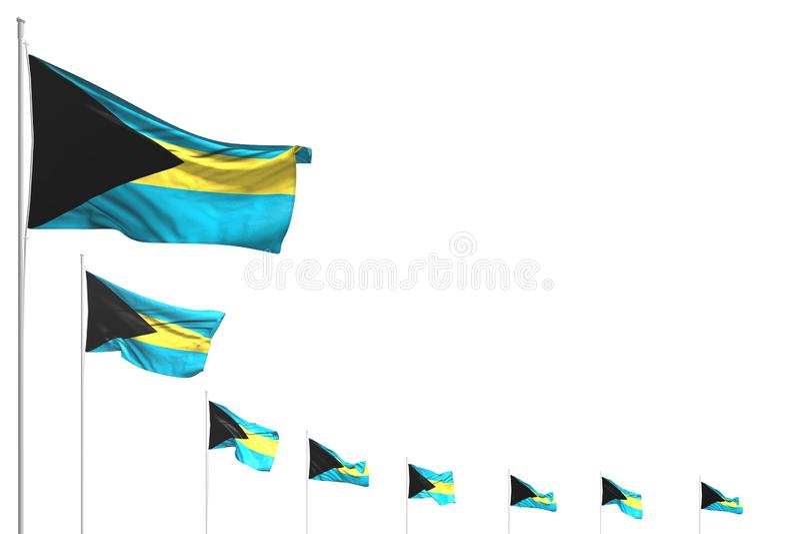 Gulligt förlade många Bahamas flaggor diagonalt som isolerades på vit med stället för din text - någon illustration för festmålti stock illustrationer