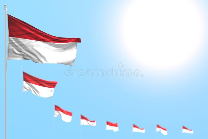 Gulligt förlade många Monaco flaggor diagonalt med den mjuka fokusen och fritt utrymme för innehållet - någon illustration för fe stock illustrationer