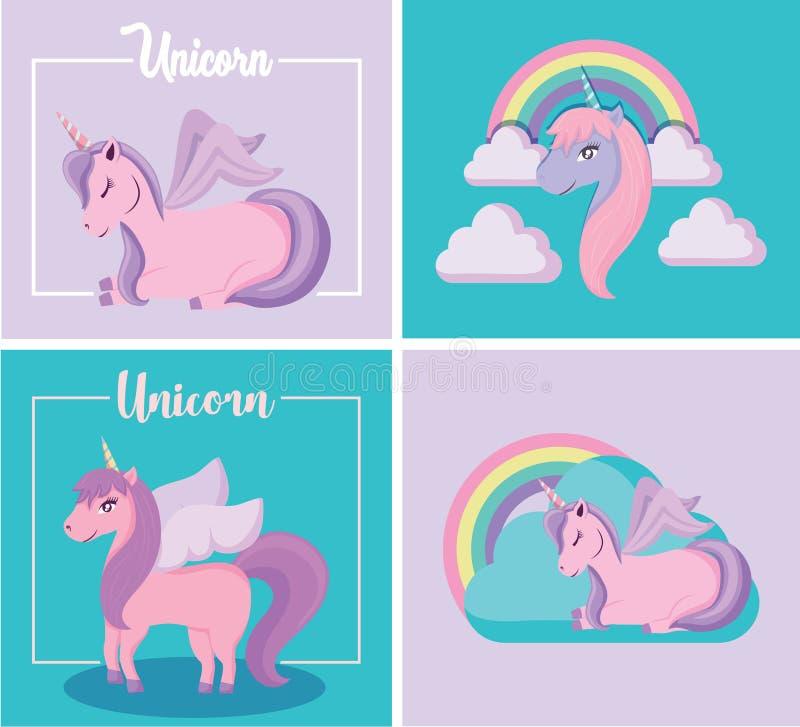 Gulligt förtjusande av Unicorn Fairy Tale With Clouds och regnbågen i att sitta och stående position stock illustrationer