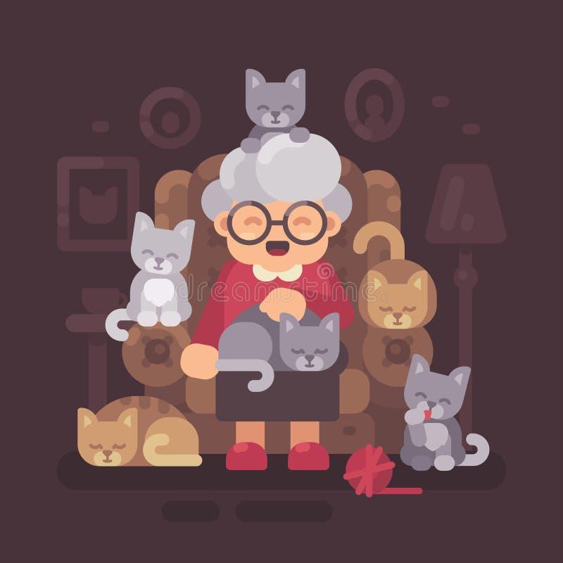 Gulligt farmorsammanträde i fåtölj med hennes katter Gammal kattdam med fem kattungar vektor illustrationer