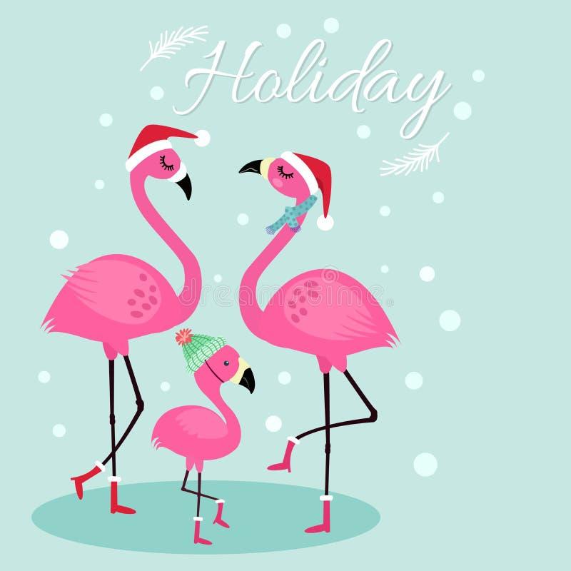 Gulligt feriekort med flamingofamiljen royaltyfri illustrationer