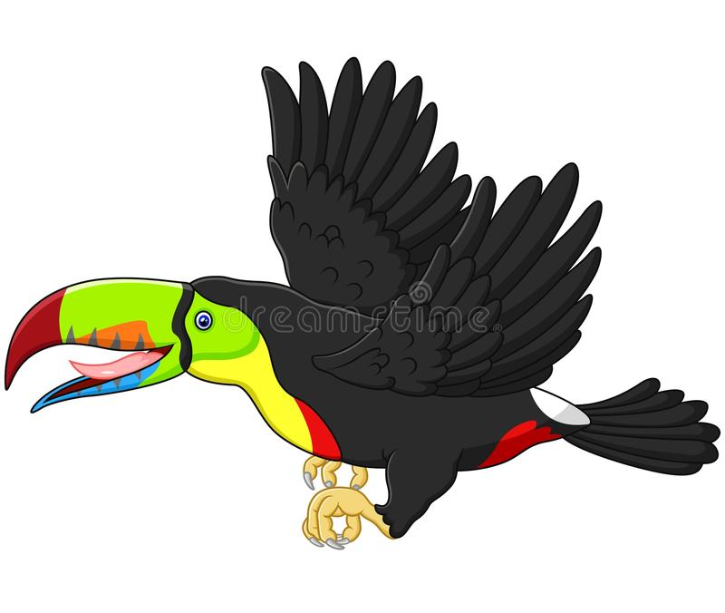Gulligt flyg för tecknad filmtukanfågel stock illustrationer