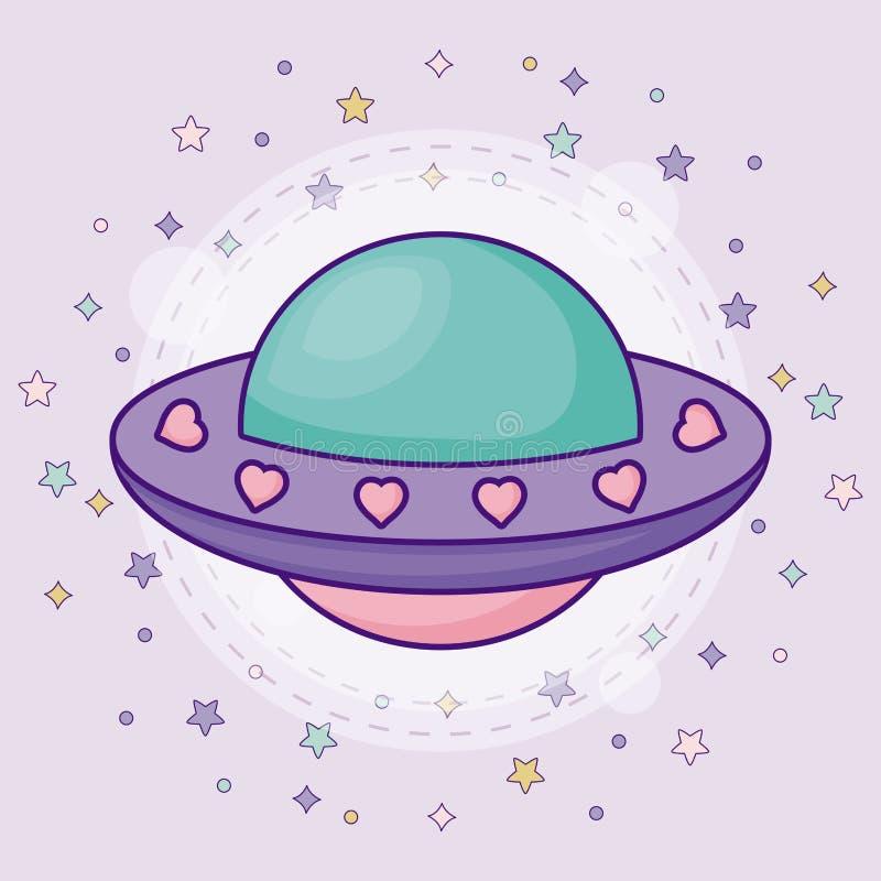 Gulligt främmande rymdskepp royaltyfri illustrationer