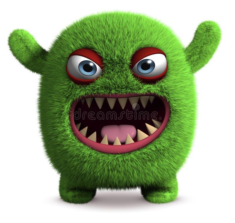 Gulligt furry monster stock illustrationer
