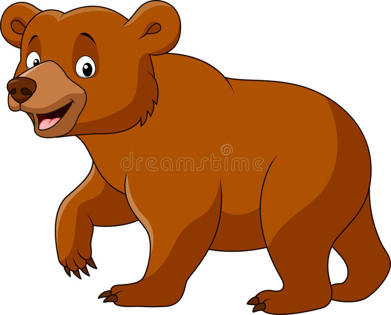 Gulligt gå för björn som isoleras på vit bakgrund royaltyfri illustrationer