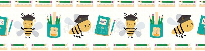 Gulligt gå tillbaka till skolagränsen med bin, böcker och blyertspennor Sömlös vektormodell på vit texturerad bakgrund stock illustrationer
