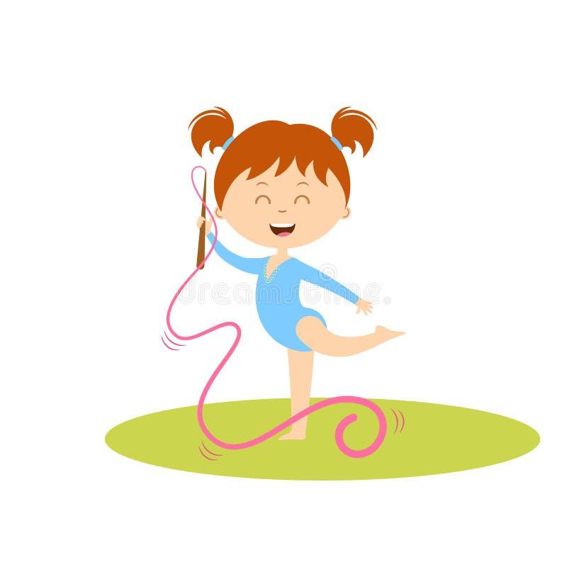 Gulligt göra för flicka som är gymnastiskt med bandet stock illustrationer