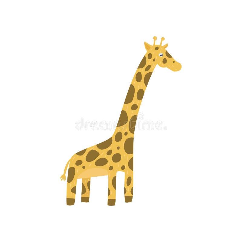 Gulligt girafftecken i plan stil Zootema Löst djur för tecknad film med den långa halsen och den prickiga kroppen Plan vektordesi stock illustrationer