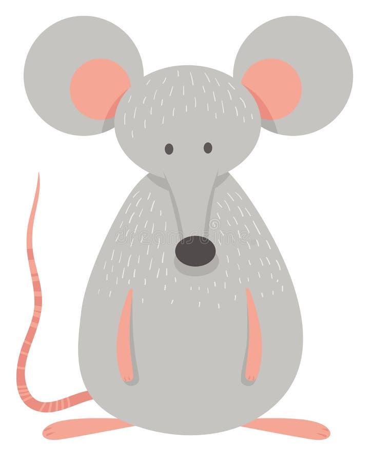 Gulligt grått musdjurtecken stock illustrationer