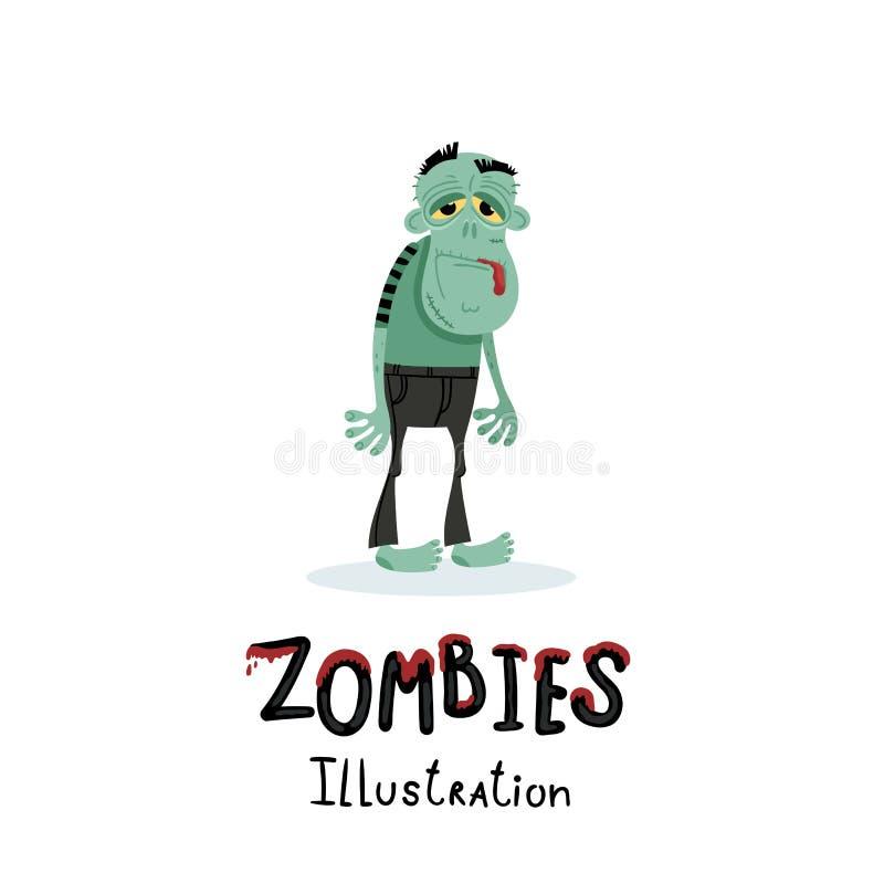 Gulligt grönt levande dödtecken i tecknad filmstil royaltyfri illustrationer