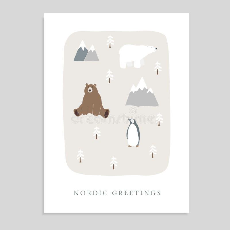 Gulligt hälsningkort för glad jul, inbjudan med björnen, isbjörn, pingvin, granträd och berg Räcka utdragna ungar stock illustrationer