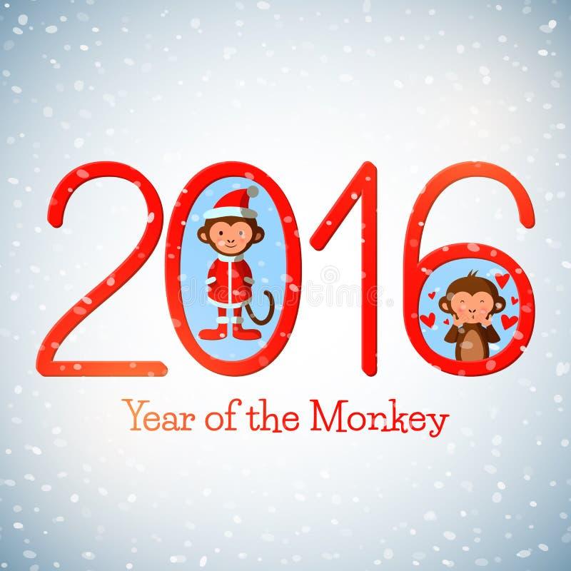 Gulligt hälsningkort för lyckligt nytt år 2016 med roliga apor royaltyfri illustrationer