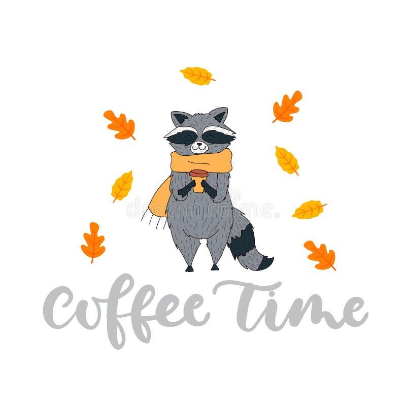 Gulligt höstkort med tvättbjörn i halsduk och kopp kaffe Höst stock illustrationer