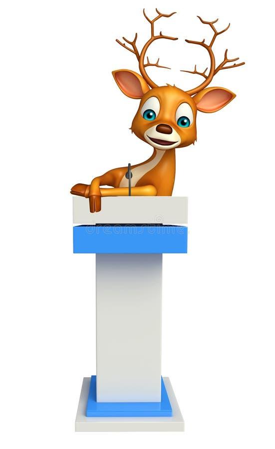 Gulligt hjorttecknad filmtecken med anförandeetappen royaltyfri illustrationer