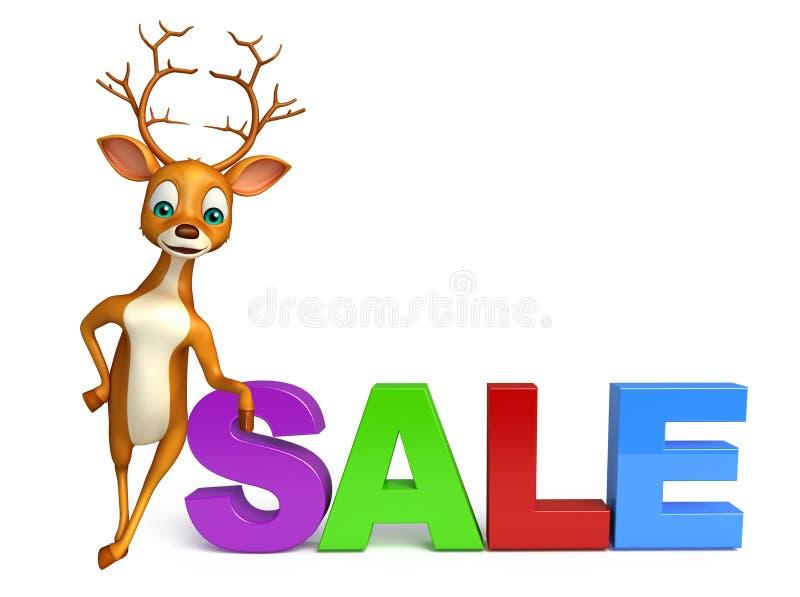 Gulligt hjorttecknad filmtecken med det stora försäljningstecknet royaltyfri illustrationer