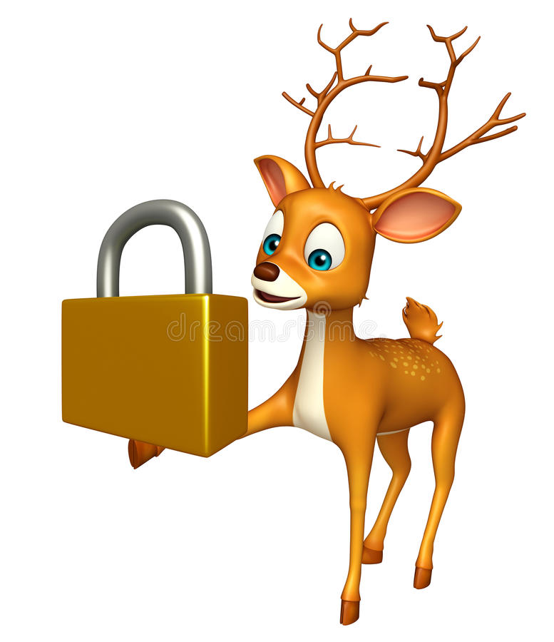 Gulligt hjorttecknad filmtecken med låset royaltyfri illustrationer