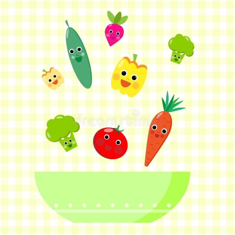 Gulligt hoppa för grönsaker royaltyfri illustrationer