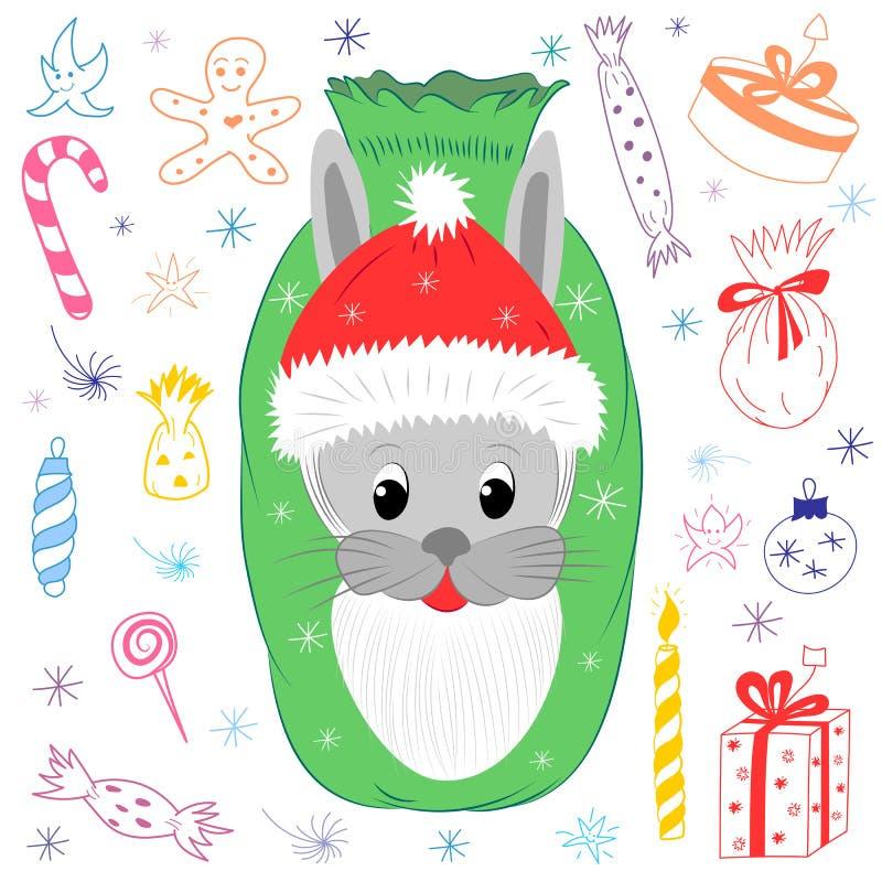 Gulligt huvud för kanin` s i Santa Claus Hat med skägget Barnteckningar av julbeståndsdelar Tecknad filmhare, godisar, gåvor och  stock illustrationer