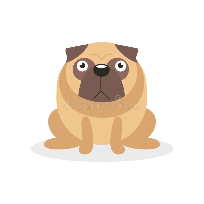 Gulligt ilsket mopshundtecken, för tecknad filmvektor för älsklings- hund illustration royaltyfri illustrationer