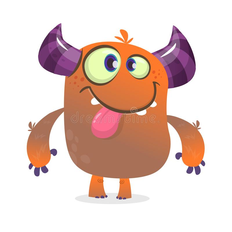 Gulligt ilsket tecknad filmmonster För teckenvisning för vektor päls- orange gigantisk tunga och grimasing stock illustrationer