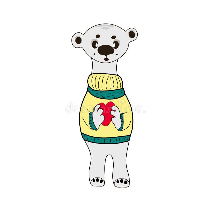 Gulligt isbjörnvektortryck nalle med hjärtatecknad filmillustrationen, vektor illustrationer