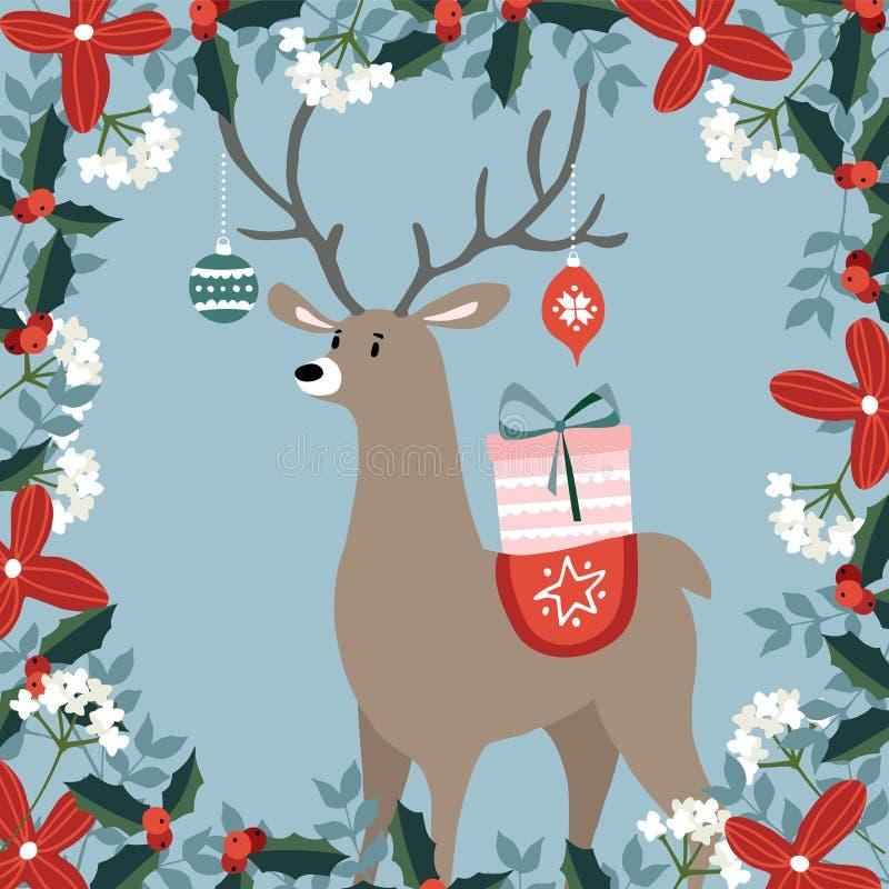 Gulligt julhälsningkort, inbjudan med hand drog hjortar som kommer med gåvaasken och julbollar, prydnader blom- vektor illustrationer
