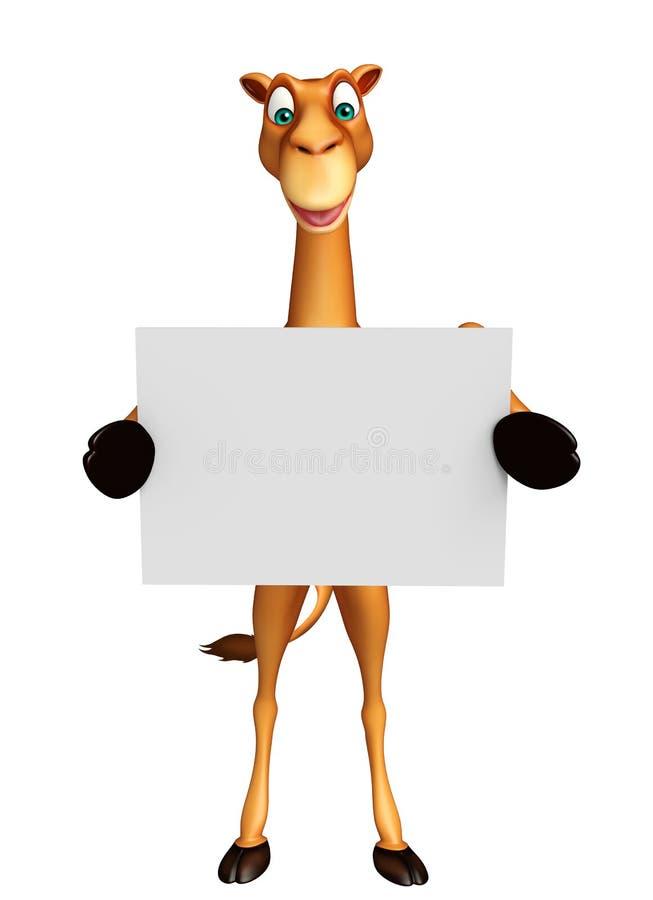 Gulligt kameltecknad filmtecken med det vita brädet royaltyfri illustrationer