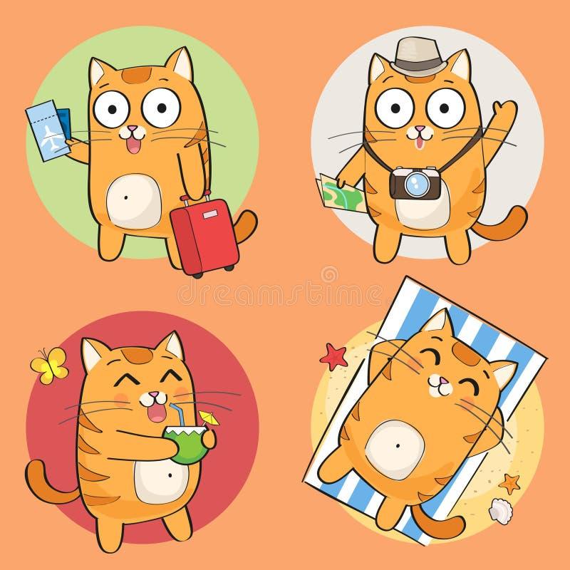 Gulligt katttecken på sommarsemester stock illustrationer