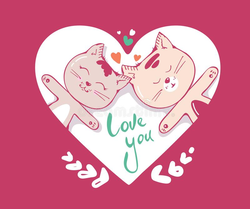 Gulligt katttecken som är förälskat med hjärtor och att märka kalligrafitext bilder för bakgrund 3d isolerade förälskelsewhite di stock illustrationer