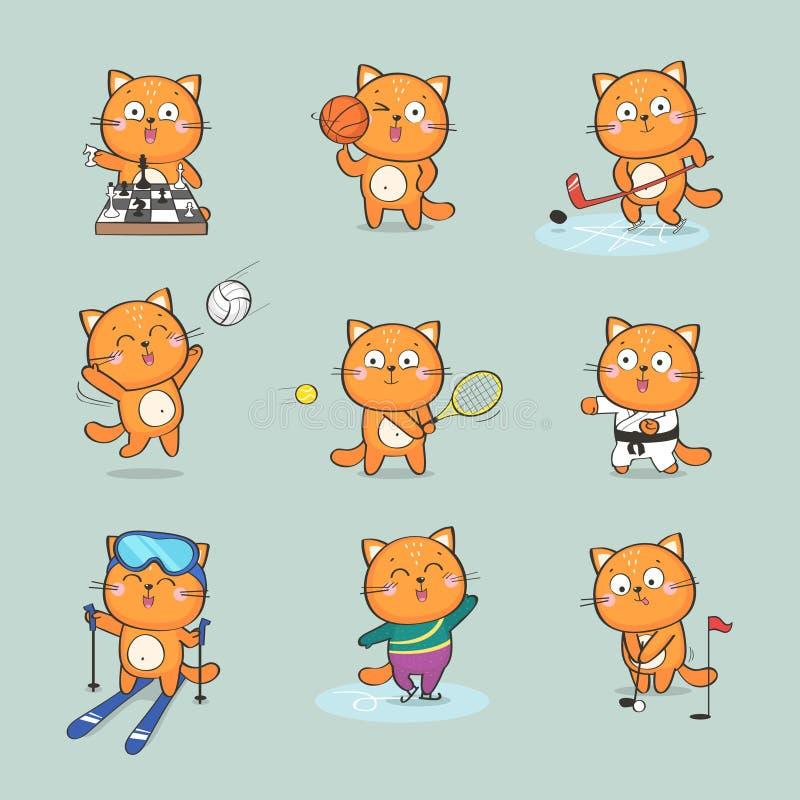 Gulligt katttecken som gör olika sportar vektor illustrationer